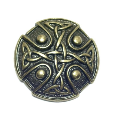 antique brass coloured buckle with rustic celtic design