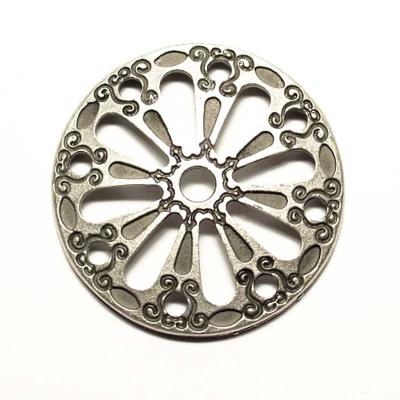 Round antique silver coloured decorative rivet, 3cm diameter