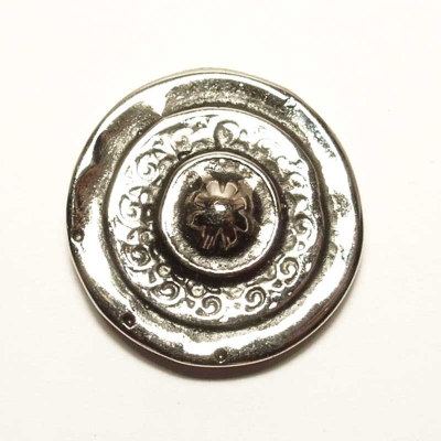 Round decorative rivet, silver coloured finish, 2,7cm diameter