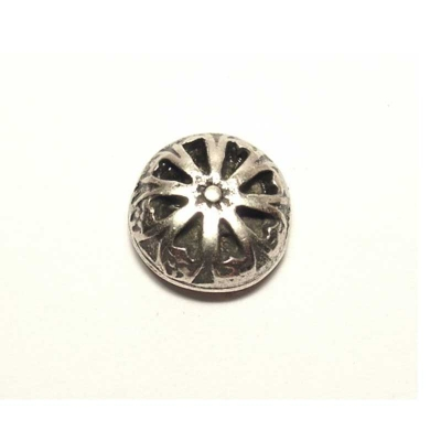 Small, round decorative rivet, silver coloured/black, approx. 1.5cm diameter