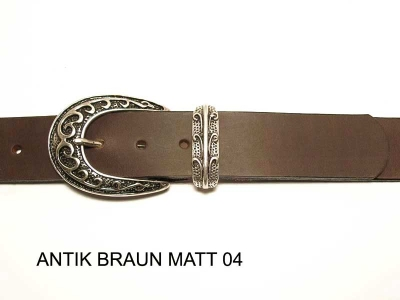 Belt with antique silver coloured buckle and loop, nickel-free