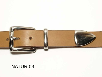 Belt with silver coloured buckle and tip, 3cm wide