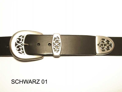 Belt with matt silver coloured buckle set, 4cm wide