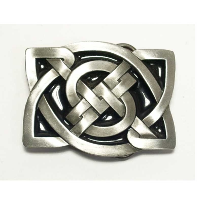 Celtic knot square buckle, original Bergamot, silver coloured/black enamel Motiv