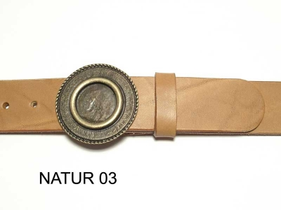 Belt with round, antique brass coloured buckle, nickel-free