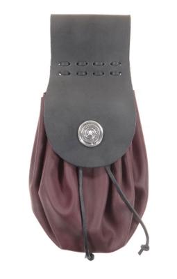 Black/burgundy red belt bag, handmade in historical style