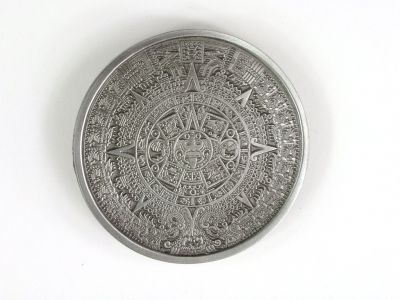 Maya Calendar buckle, original Bergamot, silver coloured finish