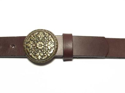3cm wide belt with round, brass coloured buckle, nickel-free