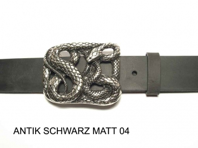 Belt with large silver coloured snake buckle