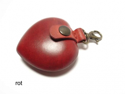 Hardened leather heart shaped pouch