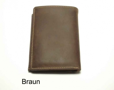 Wallet in antique finish nubuk leather, vertical format