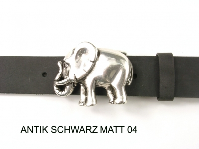 Belt with silver-plated elephant buckle