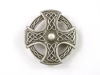 Celtic cross buckle, silver coloured finish