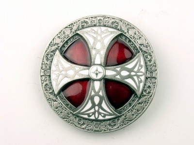 Celtic cross buckle, original Dragon Design, silver coloured, red enamel finish