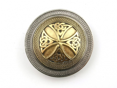 Celtic cross buckle, original Dragon Design, silver coloured/gilt finish