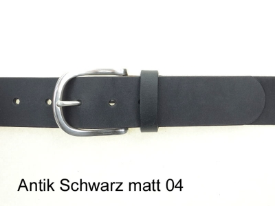 Belt with silver-plated rounded brass buckle, 4cm wide