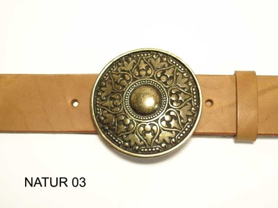Belt with round, antique brass coloured buckle, 4 cm, nickel-free
