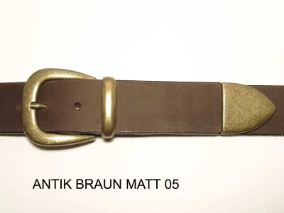 Belt with antique brass coloured buckle set, nickel-free, 4cm wide
