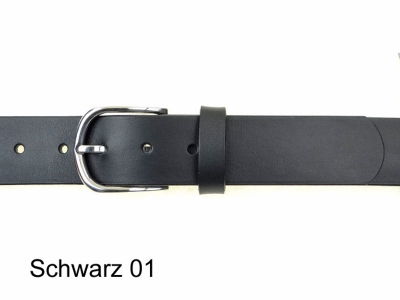 Gürtel mit abgerundeter glänzender Edelstahl Gürtelschnalle in 3,5 cm Breite