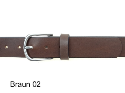 Belt with 3.5 cm wide stainless steel, satin finish buckle
