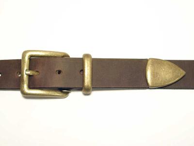 Belt with antique brass coloured 3 piece buckle set, 3cm wide, nickelfree