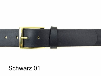 Belt with 3.5 cm wide polished solid brass buckle, nickel-free
