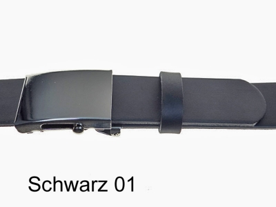 Leather belt with automatic buckle, silver-coloured, 4 cm wide