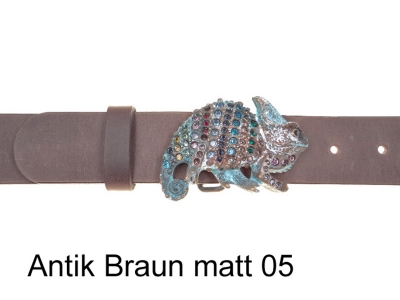 Leather belt with unusual chameleon buckle