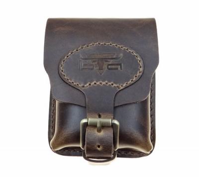 Belt bag made from vintage style cowhide - vertical format