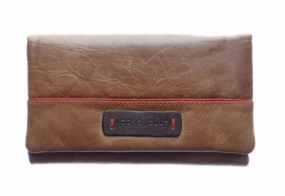 Ladies purse made of soft cow leather, cognac