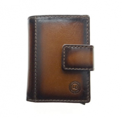 Mini wallet with aluminum card protector | Leather light brown