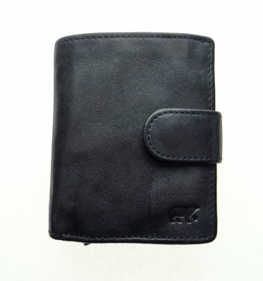 Mini wallet with aluminum card protector | Leather black