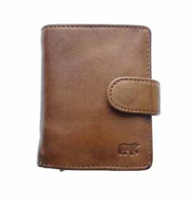 Mini wallet with aluminum card protector | Leather cognac