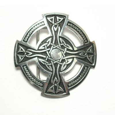 Celtic cross buckle, original English pewter, St. Justin