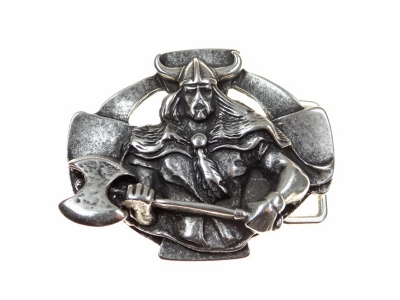 Silver coloured buckle featuring viking warrior