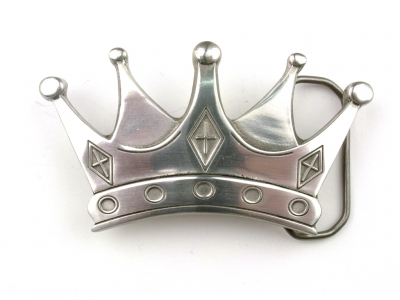 Antique silver coloured crown buckle