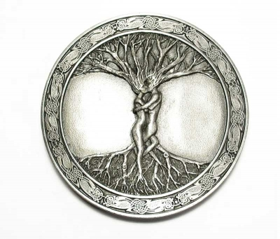 antique silver coloured  buckle, celtic tree of life, original Bergamot