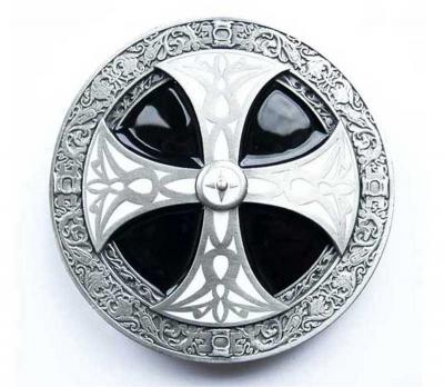 Guertelschnalle orig. Dragon Design als keltisches Kreuz silberfarbig/schwarz