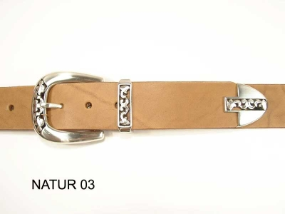 Belt with silver plated, nickel-free 3-part buckle set, 3.5cm wide