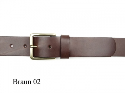 Belt with classical 3.5 cm wide brass buckle