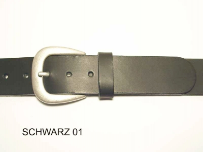 Belt with antique silver coloured buckle, 4 cm wide, nickel-free