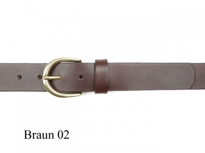 Belt with small solid round brass coloured buckle, nickel-free