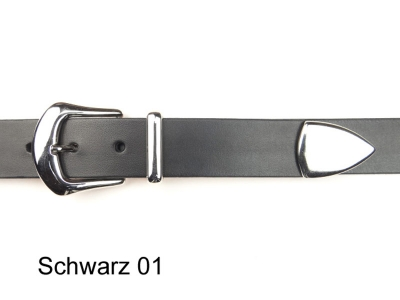 Belt with silver coloured buckle and tip, 3 cm wide