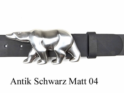 Belt with silver-plated polar bear buckle