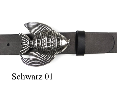 Belt with silver-plated fish buckle
