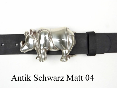Belt with silver-plated rhinoceros buckle