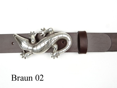 Belt with silver-plated crocodile buckle