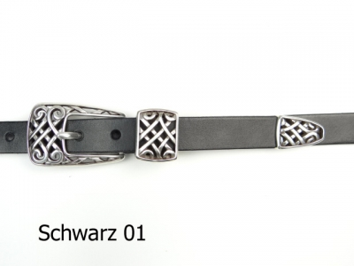 Leather belt with a silver-plated buckle set, 2 cm wide