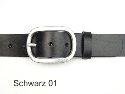 Belt with antique silver coloured buckle, 4 cm wide