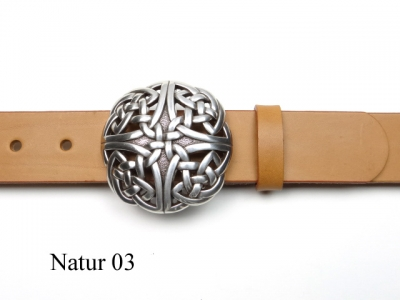 Leather belt with round, silver-plated celtic design buckle
